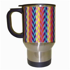 Colorful Chevron Retro Pattern Travel Mugs (White)