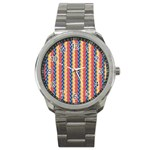 Colorful Chevron Retro Pattern Sport Metal Watch Front