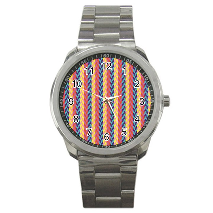 Colorful Chevron Retro Pattern Sport Metal Watch