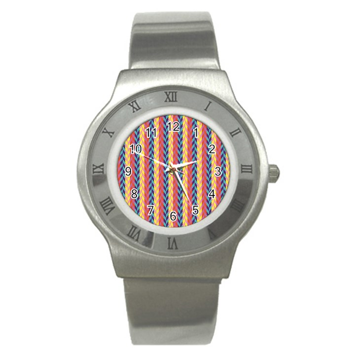 Colorful Chevron Retro Pattern Stainless Steel Watch