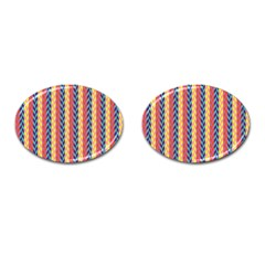 Colorful Chevron Retro Pattern Cufflinks (Oval)