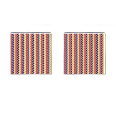 Colorful Chevron Retro Pattern Cufflinks (Square)