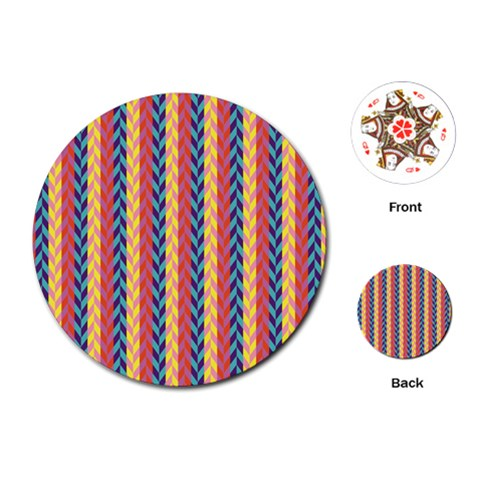 Colorful Chevron Retro Pattern Playing Cards (Round)