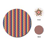 Colorful Chevron Retro Pattern Playing Cards (Round)  Front