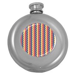 Colorful Chevron Retro Pattern Round Hip Flask (5 oz)