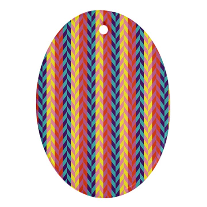 Colorful Chevron Retro Pattern Oval Ornament (Two Sides)