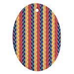 Colorful Chevron Retro Pattern Oval Ornament (Two Sides) Back