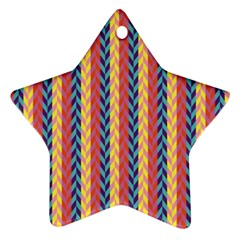 Colorful Chevron Retro Pattern Star Ornament (Two Sides)