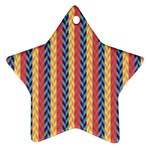 Colorful Chevron Retro Pattern Star Ornament (Two Sides)  Back