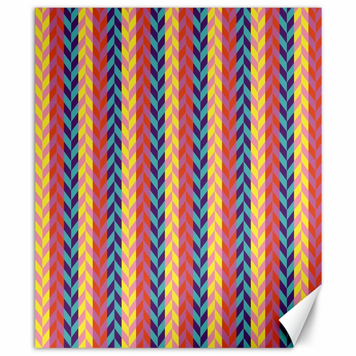 Colorful Chevron Retro Pattern Canvas 8  x 10