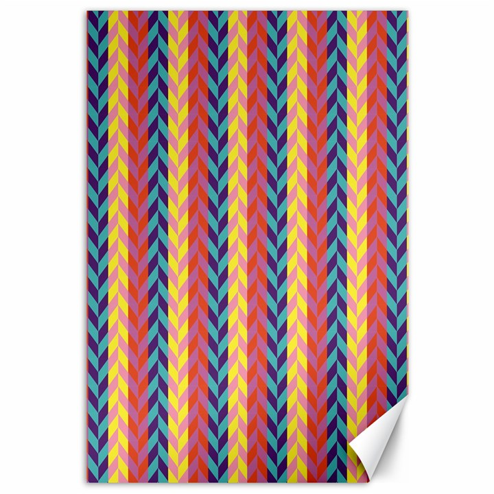 Colorful Chevron Retro Pattern Canvas 12  x 18