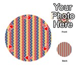 Colorful Chevron Retro Pattern Playing Cards 54 (Round)  Front - Heart3