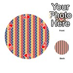 Colorful Chevron Retro Pattern Playing Cards 54 (Round)  Front - HeartK