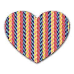 Colorful Chevron Retro Pattern Heart Mousepads