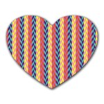Colorful Chevron Retro Pattern Heart Mousepads Front
