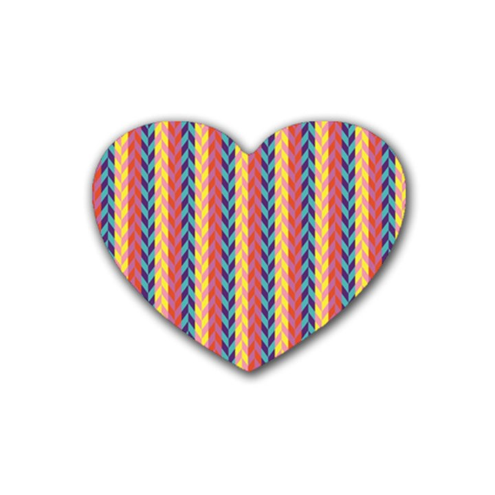 Colorful Chevron Retro Pattern Rubber Coaster (Heart)
