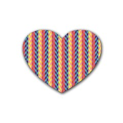 Colorful Chevron Retro Pattern Heart Coaster (4 Pack)