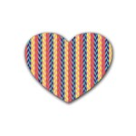 Colorful Chevron Retro Pattern Heart Coaster (4 pack)  Front