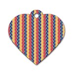 Colorful Chevron Retro Pattern Dog Tag Heart (Two Sides) Front