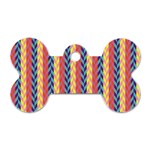 Colorful Chevron Retro Pattern Dog Tag Bone (One Side) Front