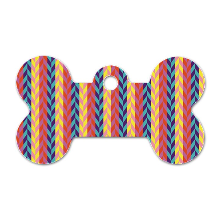 Colorful Chevron Retro Pattern Dog Tag Bone (One Side)