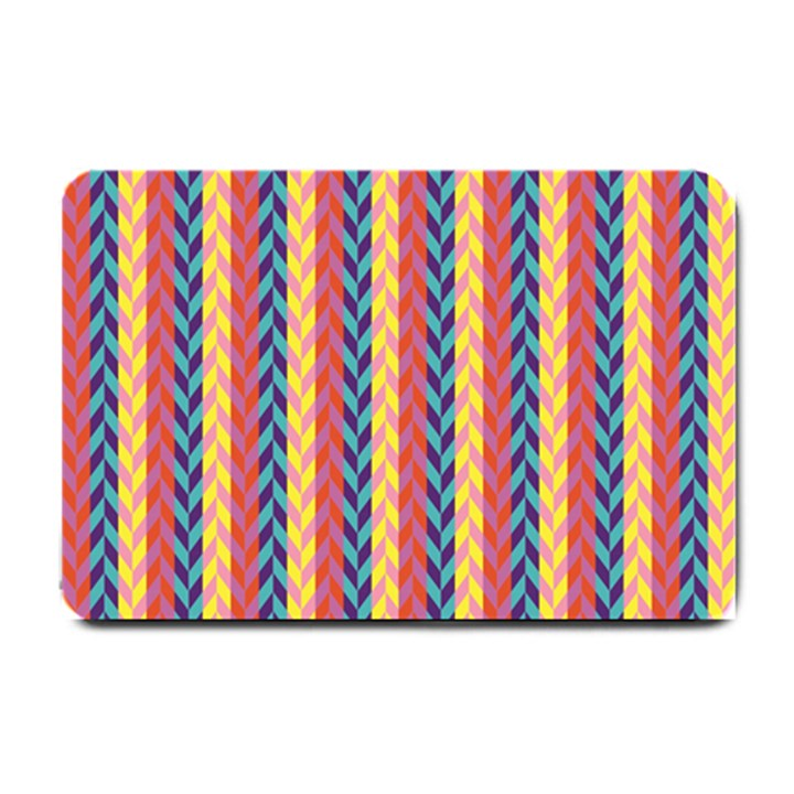 Colorful Chevron Retro Pattern Small Doormat