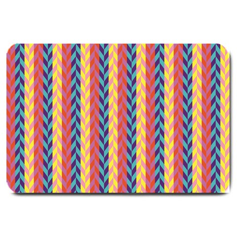 Colorful Chevron Retro Pattern Large Doormat