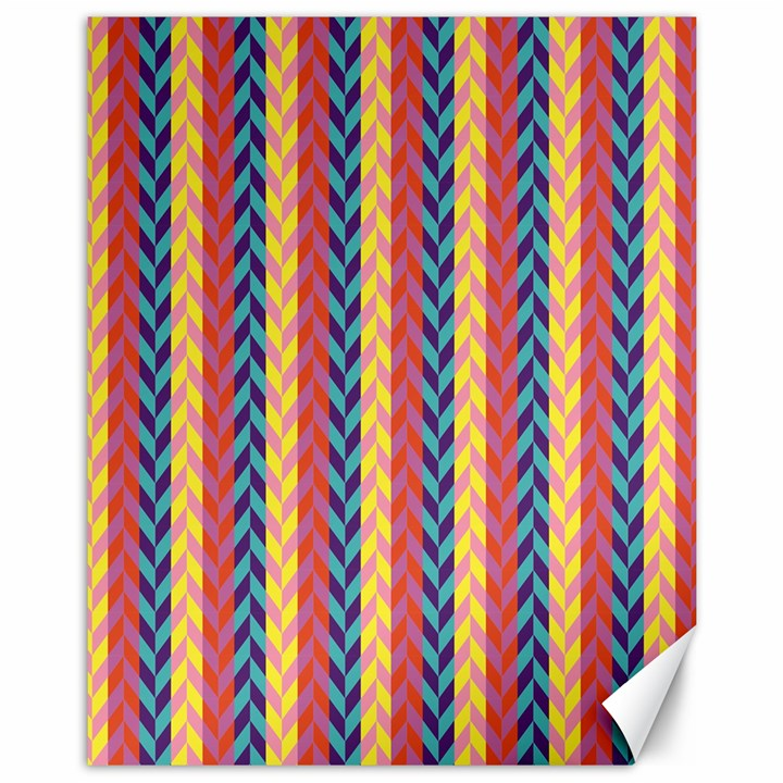 Colorful Chevron Retro Pattern Canvas 11  x 14