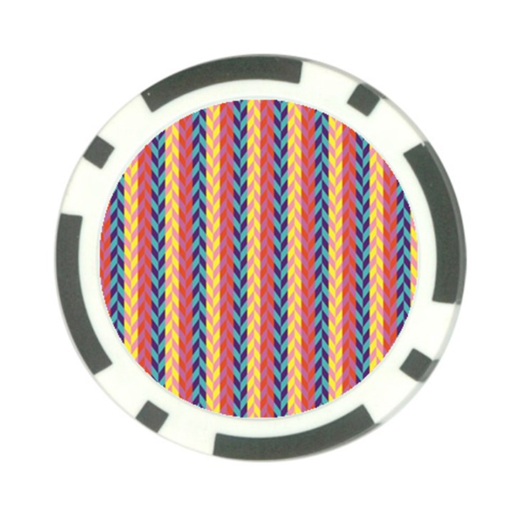 Colorful Chevron Retro Pattern Poker Chip Card Guards