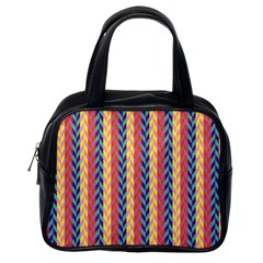Colorful Chevron Retro Pattern Classic Handbags (one Side)