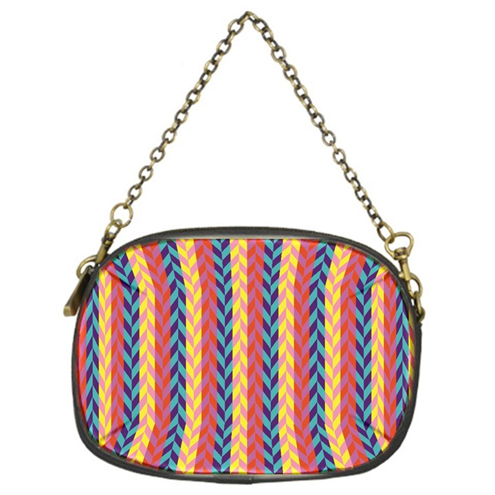 Colorful Chevron Retro Pattern Chain Purses (One Side)