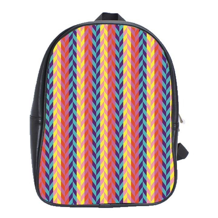 Colorful Chevron Retro Pattern School Bags(Large)