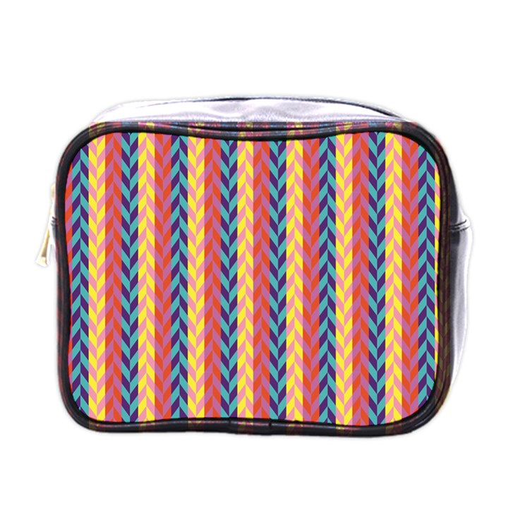 Colorful Chevron Retro Pattern Mini Toiletries Bags