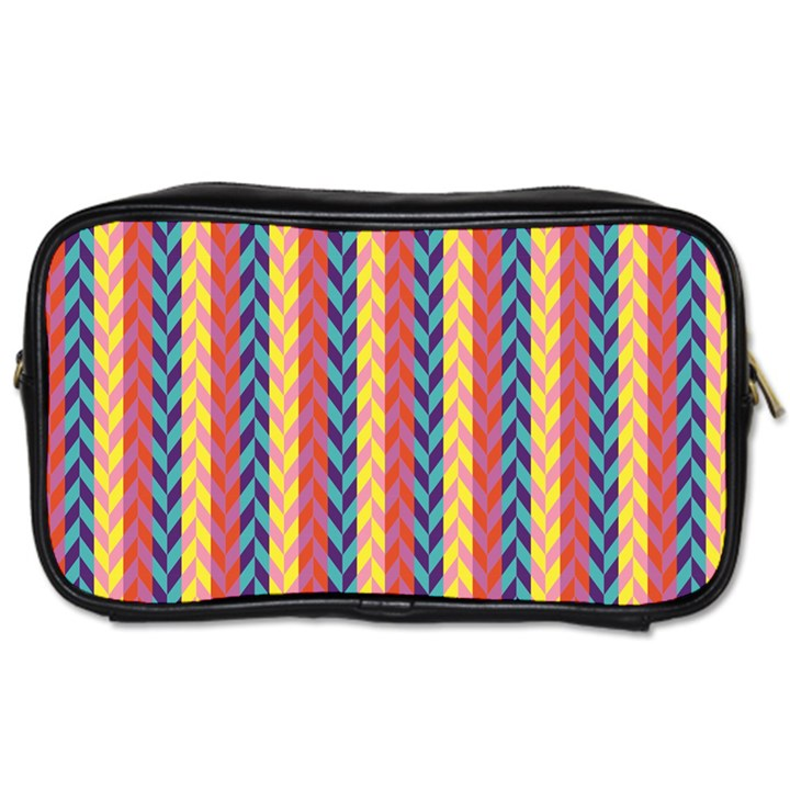 Colorful Chevron Retro Pattern Toiletries Bags