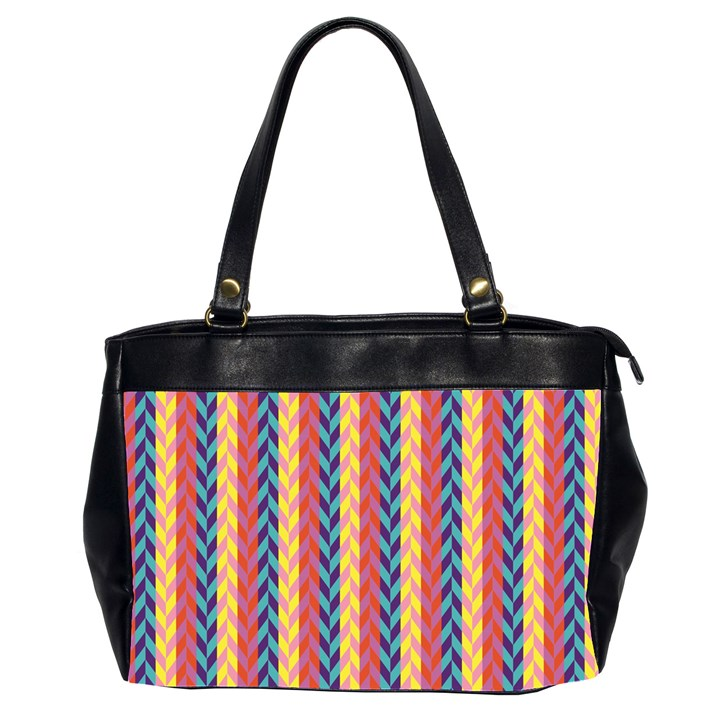 Colorful Chevron Retro Pattern Office Handbags (2 Sides)