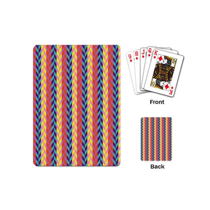 Colorful Chevron Retro Pattern Playing Cards (Mini)