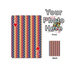 Colorful Chevron Retro Pattern Playing Cards 54 (Mini)  Front - Heart7