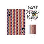 Colorful Chevron Retro Pattern Playing Cards 54 (Mini)  Front - Spade7