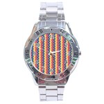 Colorful Chevron Retro Pattern Stainless Steel Analogue Watch Front