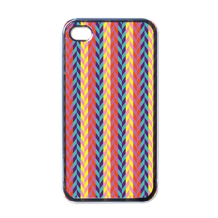 Colorful Chevron Retro Pattern Apple iPhone 4 Case (Black)
