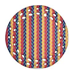 Colorful Chevron Retro Pattern Ornament (Round Filigree)