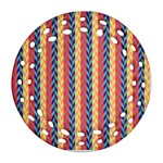Colorful Chevron Retro Pattern Round Filigree Ornament (2Side) Front