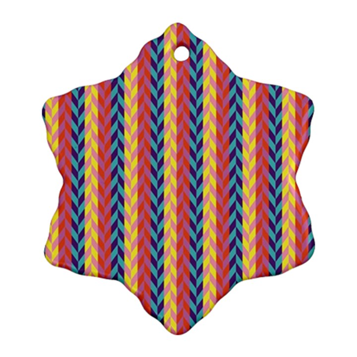 Colorful Chevron Retro Pattern Snowflake Ornament (2-Side)
