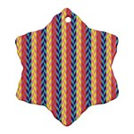 Colorful Chevron Retro Pattern Snowflake Ornament (2-Side) Back