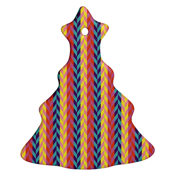 Colorful Chevron Retro Pattern Christmas Tree Ornament (2 Sides)
