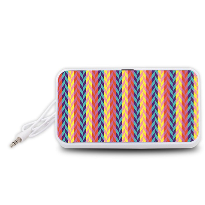 Colorful Chevron Retro Pattern Portable Speaker (White)