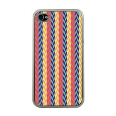 Colorful Chevron Retro Pattern Apple Iphone 4 Case (clear)