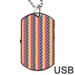 Colorful Chevron Retro Pattern Dog Tag USB Flash (One Side)