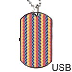 Colorful Chevron Retro Pattern Dog Tag USB Flash (One Side) Front