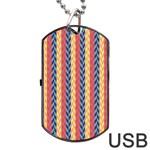 Colorful Chevron Retro Pattern Dog Tag USB Flash (Two Sides)  Back